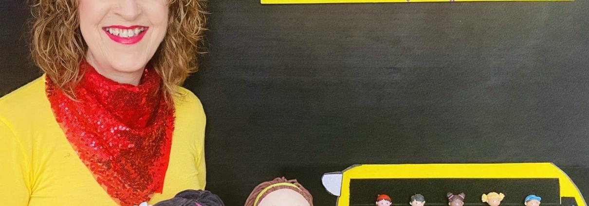 Gwynnie-Gwyn-Gwyn with the yellow school bus and Little Friends
